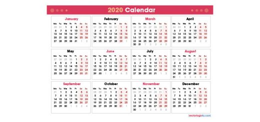 2020 Calendar Template PDF Editable