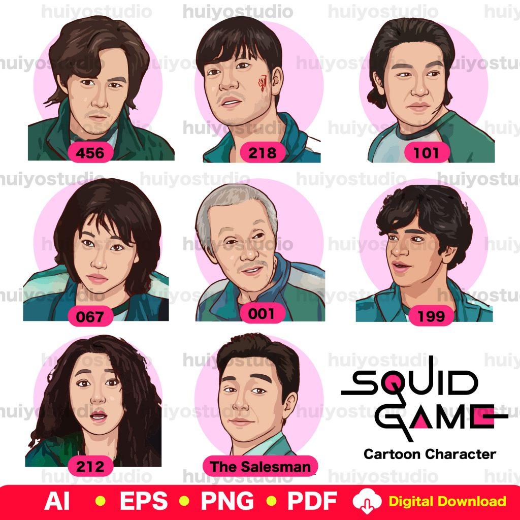 Squid Game Character Cartoon