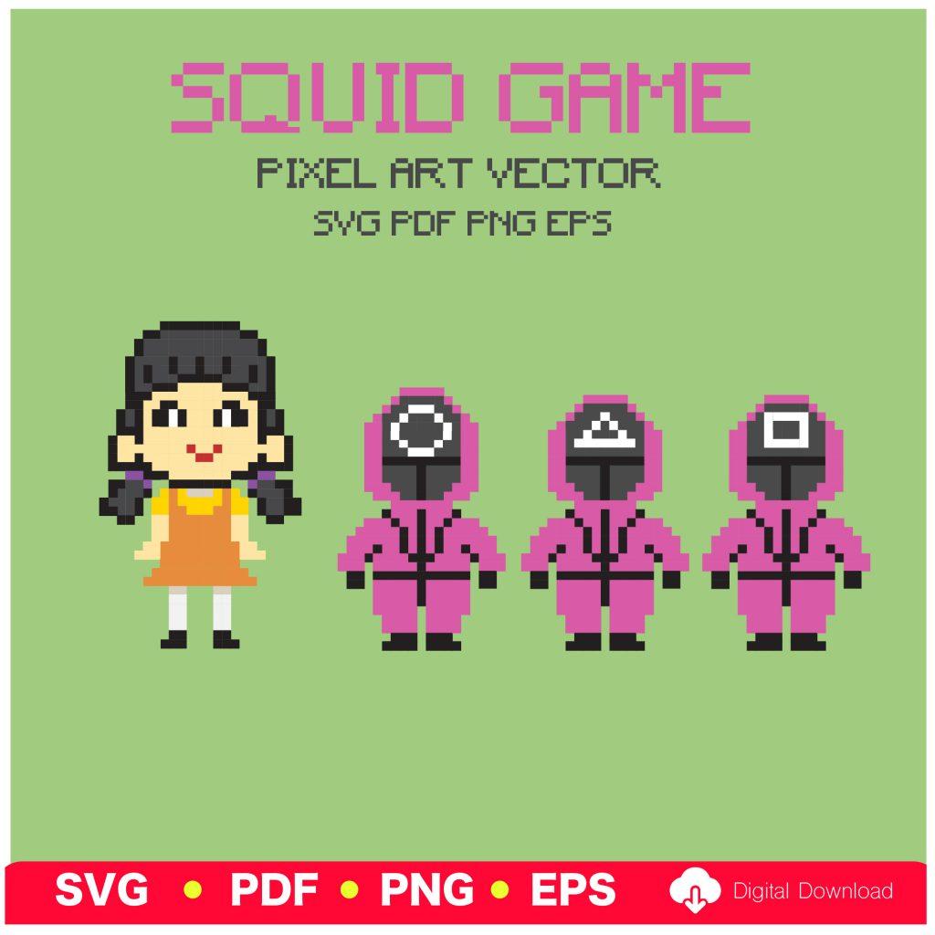 SQUID GAME pixel art vector