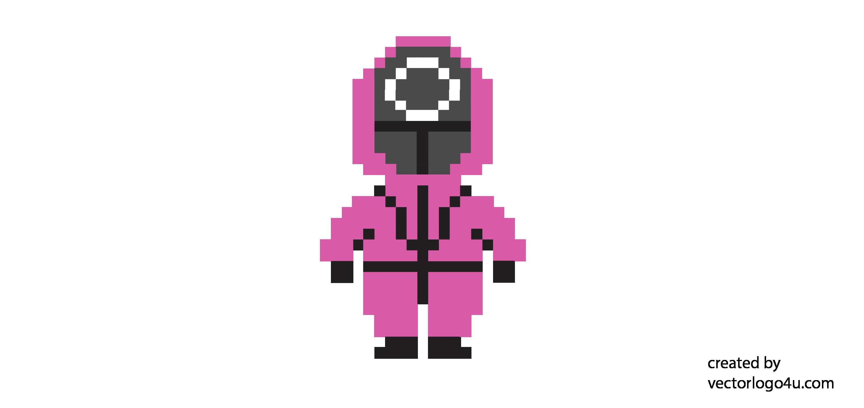 squid game mask soldier pixel art